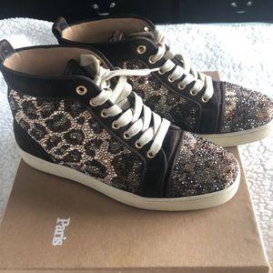 Louboutin Louis Woman Leopard Strass sneaker!